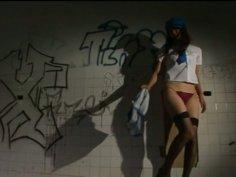 Raunchy slut Mami Nagaoka stripteases and poses on a cam