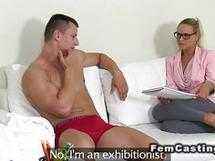 Blonde agent beauty rode muscled guy