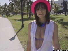 Surprise threesome with bikini bestie