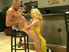 Young cute blonde takes facial cumshot for money