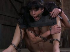 Chubby tattooed slut Tricia Oaks is tortured with pillory and chains