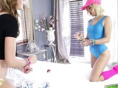 Alyce Sage and Kimberly Moss fed by pops juicy meat