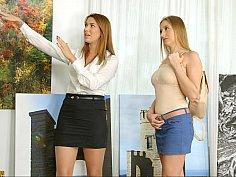 Lesbian babes in mini skirts