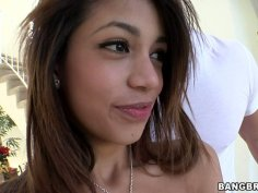 Funky latina girlie Veronica Rodriguez fills her cunt with massive pecker