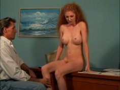 Frizzy redhead Annie Body gets her wet cunt tickled and licked